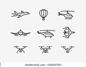Set of airplane icon. Transport symbol in linear style. Vector illustration
