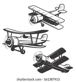 Set of airplane icons isolated on white background. Design elements for logo, label, emblem, sign. Vector illustration