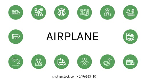Set of airplane icons such as Train, Distributed, Fly, Travel, Airport, Tour guide, Sending, Subway, Zeppelin , airplane