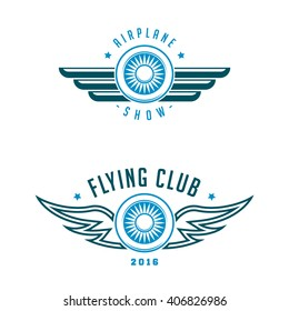 Set of airplane show labels.