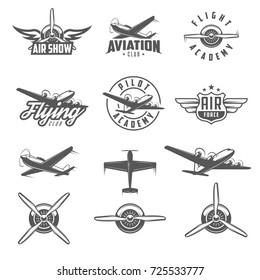 Set of airplane show labels. Flying club. Air show.