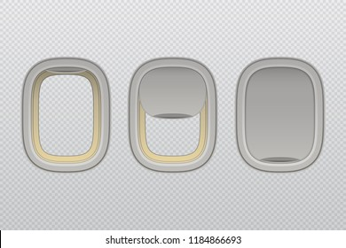 Set of airplane windows with open and closed shade, vector illustration