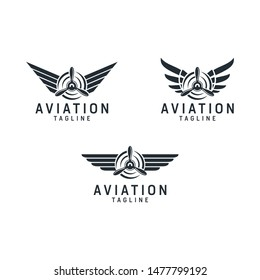 Set of airplane/aviation . Emblems with wings and propellers . logo design Vector design elements download