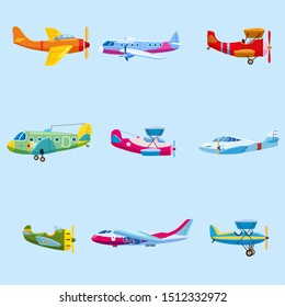 Set of airplanes aircraft different colour. Retro, personal, cargo, speed, biplane, monoplane. Vector isolated cartoon style
