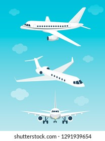 Set of airplanes with different angles. Vector illustration. Flat cartoon style.