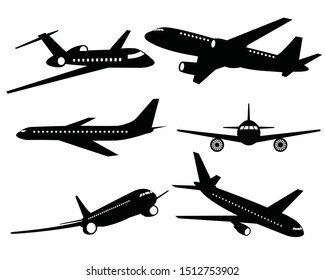 Set of airplanes silhouettes. Plane icon on white background, airplane vector Illustration