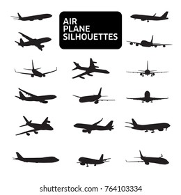 Set of airplanes silhouettes. Planes: in flight, takeoff, running, landing, front, up and profile, vector illustration of aircrafts