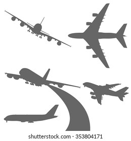 Set of airplanes vector silhouettes