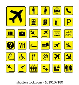 Set of Airport icons or Signs ,black and yellow pictograms isolated on white background,vector illustration.