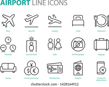 set of airport icons, such as airplane, ticket, world time, passport, money exchange, transport