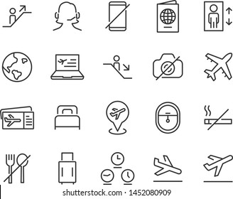 set of airport icons, such as airplane, ticket, flight, travel