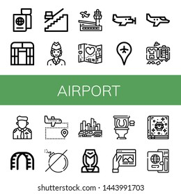 Set of airport icons such as Passport, Flat arch greenhouse, Stair, Air hostess, Airport, Travel, Small plane, Luggage, Pilot, Stairs, No bomb, Skytrain, Flight attendant , airport