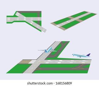 Set. Airport runways. Perspective view. Vector illustration. Eps 10.