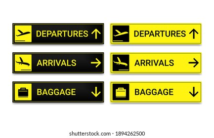 Set of airport signboard. Departure, arrival and baggage sign. Illustration vector