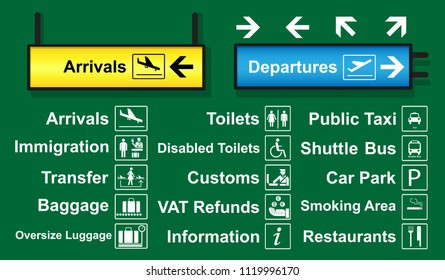set of airport signs with logo and direction which is often used around airport terminal.