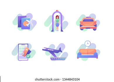 Set airports icons with yellow taxi, airplane, tickets, foreign passports, metal detector frames. Concept collection modern symbols for vehicle, internet, ad, web. Pixel perfect. Vector illustration