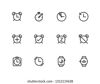 Set of Alarm, Time, Clock, Timer, Watch, vector line icons