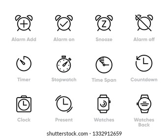Set of Alarm, Time, Clock, Timer, Watch, Editable Thin Line Icons.