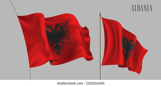 Set of Albania waving flag mockup vector illustration. Red with eagle of Albanian wavy realistic 3d flag as a patriotic symbol