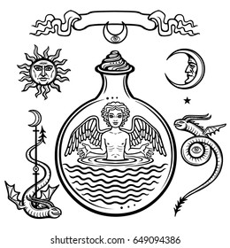 Set of alchemical symbols. Child in a test tube, the homunculus, chemical reaction. Angel. Life origin. Mystical snakes. Vector illustration isolated on a white background.