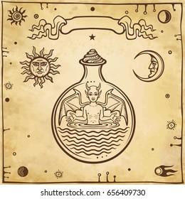 Set of alchemical symbols. Child in a test tube, the homunculus, chemical reaction. Devil. Origin of life.  Background - imitation of old paper. Vector illustration.