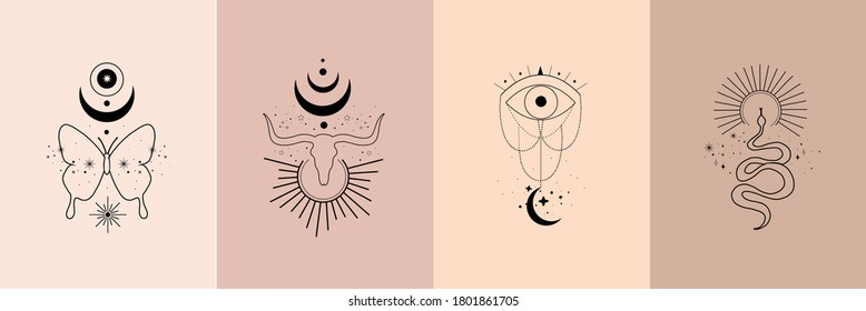 Set of alchemy esoteric mystical magic celestial talisman with skull of bull, snake, butterfly, sun, moon, stars sacred geometry. Spiritual occultism object. Vector illustration in black outline style