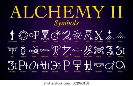 Set of Alchemy Symbols. It is an ancient practice shrouded in mystery and secrecy. Its practitioners mainly sought to turn lead into gold.
