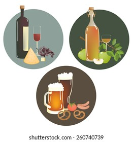 Set of alcohol beverages and snacks. Vector illustration