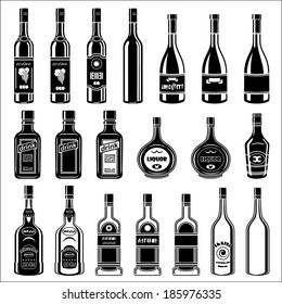 Set of alcohol bottles. vector