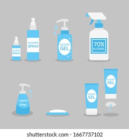 Set of Alcohol Gel, Alcohol Spray, Soap, Liquid Soap. kill virus by Wash hand and spray hand.Medical Health care concept,