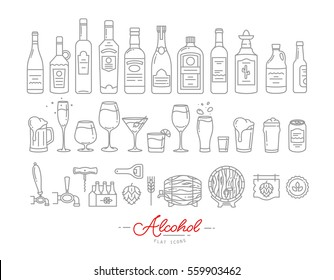 Set of alcohol icons in flat style drawing with grey lines on white background