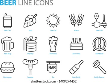 set of alcohol icons such as, beer, wheat, hop, glass, mug
