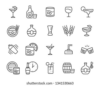 set of alcohol icons, such as whisky, drink, cocktail, bar, glass