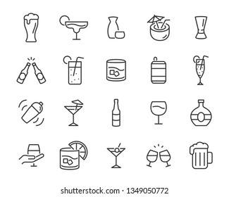 set of alcohol icons, such as wine, champagne, beer, whisky, cocktail, glass