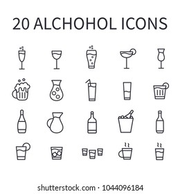 Set of alcohol icons for web or mobile app. Vector bar icons. Thin line buttons for internet. Illustration isolated on white background.