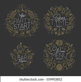 Set of alcohol monograms in flat style drawing with gold lines on dark background