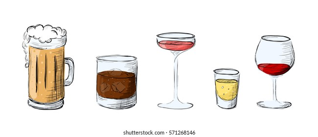 Set of alcoholic beverages in a sketch style. Isolated.