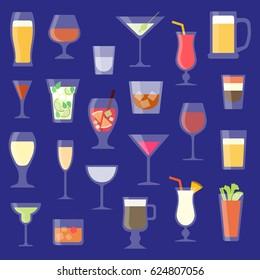 Set of alcoholic beverages vector illustration. Drinks and cocktails in glassware. Bar.