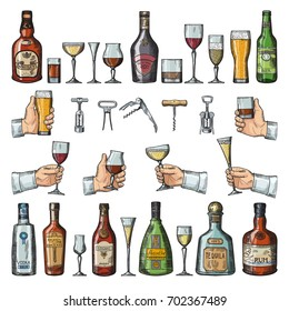 Set of alcoholic symbols. Different drinking glasses, wine bottles and corkscrews. Vector pictures in hand drawn style. Tequila and rum, absinthe and brandy illustration