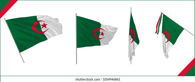 Set of Algeria state waving flag in solemn or proud style. Vector illustration.