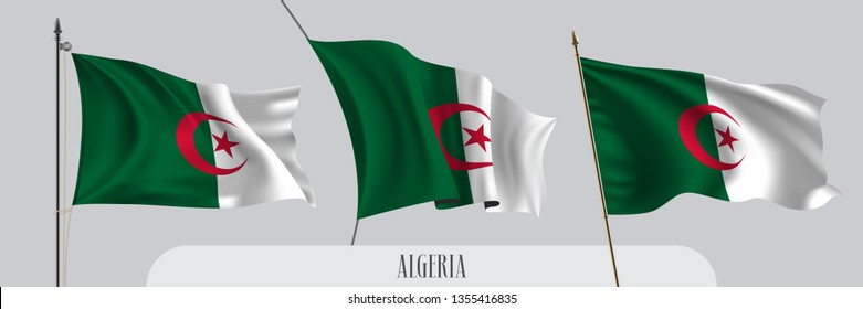 Set of Algeria waving flag on isolated background vector illustration. 3 green white Algerian  wavy realistic flag as a patriotic symbol