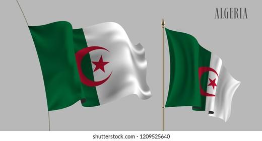 Set of Algeria waving flag vector illustration. Stripes and crescent of Algerian wavy realistic 3D flag as a patriotic symbol