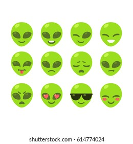 Set of alien emoji icons. Cute cartoon emoticons vector illustration.