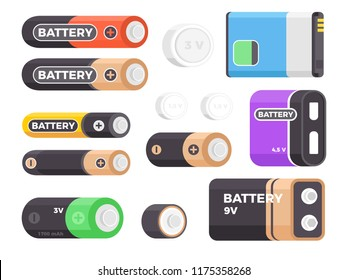 Set of alkaline battery power. Lithium battery icons. Flat design vector illustration
