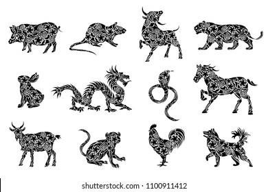 Set of all 12 zodiac animals for Chinese New Year celebration design. Vector illustrations in paper cut style.