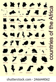 Set of all Africa countries vector maps silhouette isolated on white background. High detailed silhouette illustration.