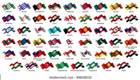 set of all Asian flags on white background