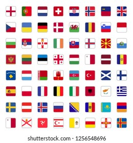 Set of all european country flags simple square