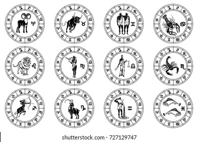 Set of all twelve zodiac signs in astrological circles black vector illustration isolated on a transparent background. Horoscope