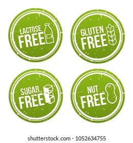 Set of Allergen free Badges. Lactose, Gluten, Sugar and Nut free. Vector hand drawn Signs. Can be used for packaging Design.